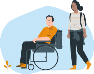 Dependent in wheelchair and care giver