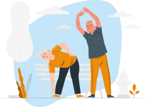 Elderly couple doing stretches in the park