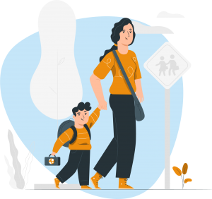 New parent walking with child