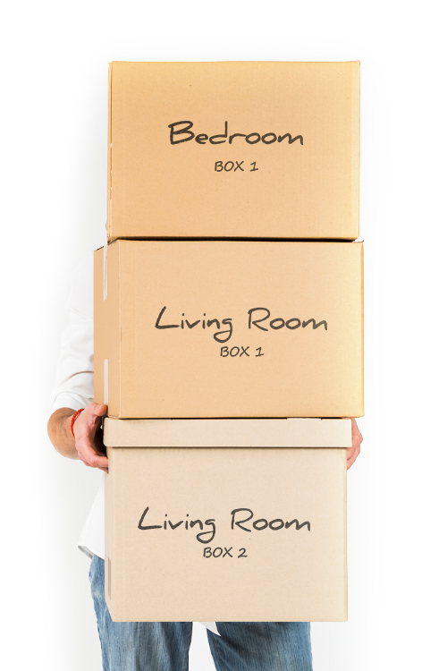 Person holding 3 brown boxes