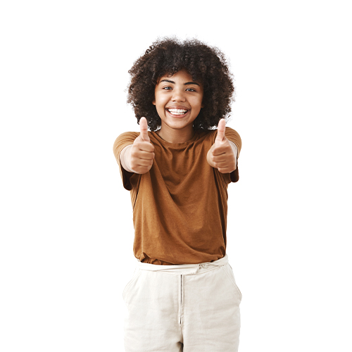 Woman with both thumbs up