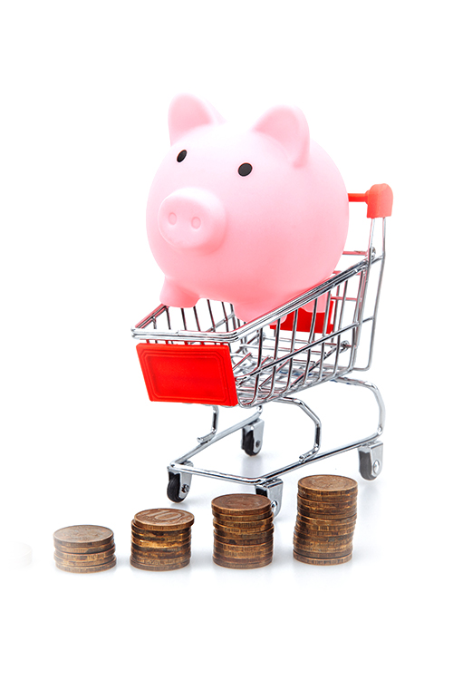 Pig in trolley with pennies stacked on the floor