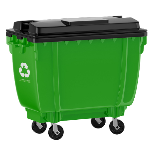 Green wheelie bin with recycling logo